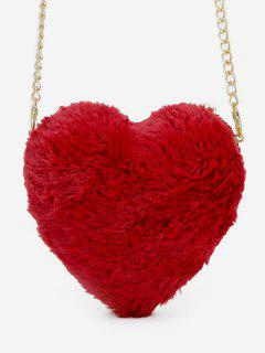 Faux Fur Heart Shape Crossbody Bag - Lava Red