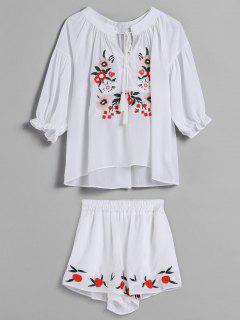 Flower Embroidered Tassel Shorts Set - White