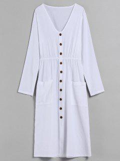 V Neck Buttons Embellished Dress - White L