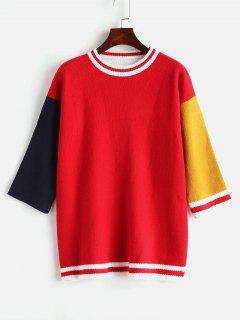 Suéter De Bloque De Color De Hombro De Gota Suelta - Rojo
