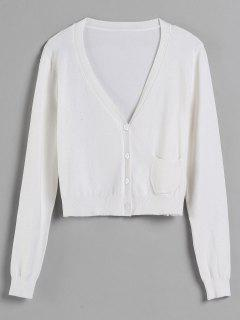 V Neck Pocket Cardigan - White L