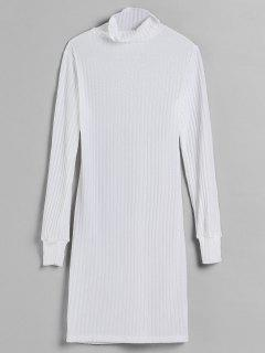 Turtleneck Fitted Knit Dress - White L
