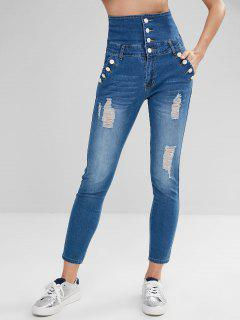 High Waisted Button Embellished Ripped Jeans - Baby Blue M