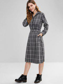 Plaid Long Sleeves Belted Dress - Gray S