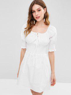 Mini Robe Plissée à Col Carré - Blanc S
