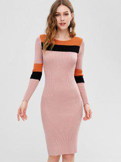 Color Block Ribbed Bodycon Dress - Pig Pink