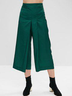 Pleated Wide Leg Culotte Pants - Medium Sea Green M