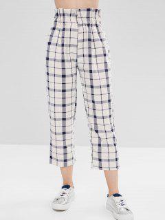 High Rise Plaid Cropped Pants - Multi S