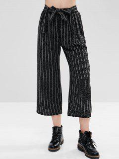 Pantalones Anchos De Pierna Con Cinturón - Negro