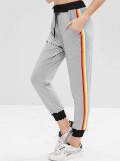 Drawstring Striped Side Jogger Pants - Gray Cloud Xl