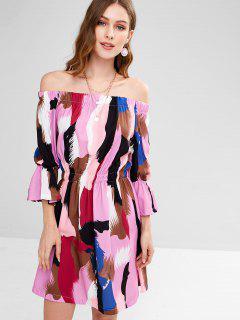 Off Shoulder Bell Sleeves Printed Dress - Multi L
