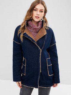 Zip Up Shearling Denim Coat - Denim Dark Blue M
