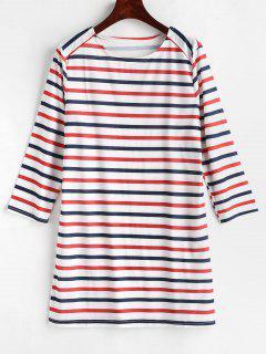 Striped Long Sleeve Tunic Dress - Multi L