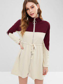 Zip Front Stripe Trim Coat - Multi-a S