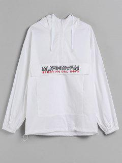 Half Zip Pocket Oversized Hoodie - White