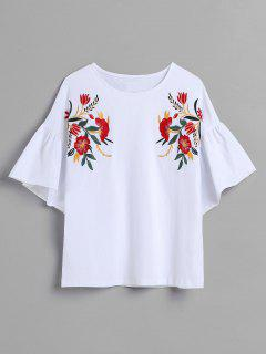 Floral Embroidered Bell Sleeve T-shirt - White S