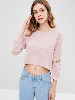 Cropped Cut Out Sweatshirt - Light Pink L