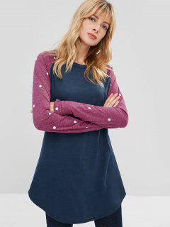 Polka Dot Color Block Longline T-shirt - Cadetblue Xl