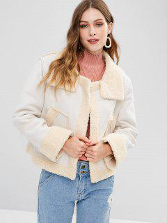 Faux Suede Shearling Open Front Jacket - White L