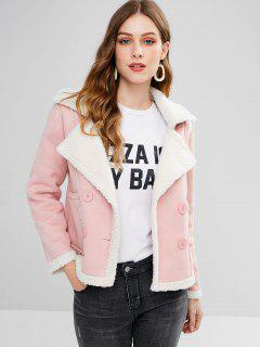Double Breasted Shearling Faux Suede Jacket - Pink L