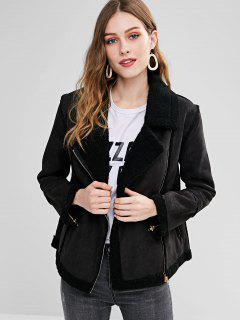 Shearling Collar Faux Suede Zip Up Jacket - Black M