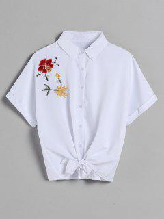 Dolman Sleeve Embroidered Tie Shirt - White M
