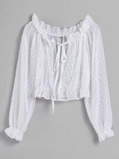 Frills Mesh Sheer Ernte Bluse - Weiß S