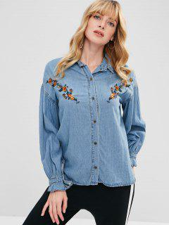 Chambray Flower Embroidered Blouse - Denim Blue