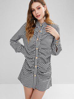 Mini Robe Chemise à Carreaux Avec Plis - Multi