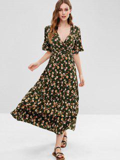 Floral Surplice Dress With Flounce - Multi S