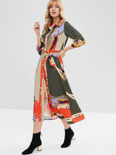 Belted Printed Shirt Dress - Multi L