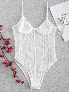 Sheer Tulle Velvet Binding Lingerie Teddy Bodysuit - White M