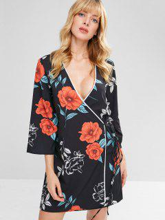 Floral Mini Wrap Dress - Black S