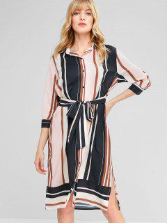 Striped Knotted Shirt Dress - Multi L