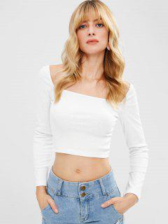 Square Neck Knitted Crop Tee - White M