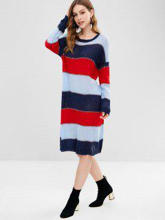 Shiny Thread Stripes Sweater Dress - Multi-a