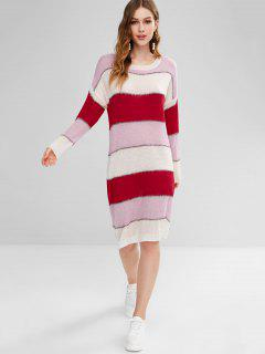 Shiny Thread Stripes Sweater Dress - Multi-b
