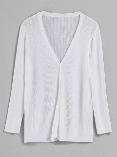 V Neck Button Front Classic Cardigan - White