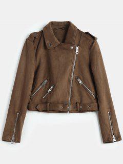 Belted Zipped Faux Suede Biker Jacket - Coffee M