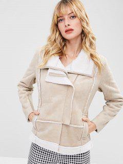 Zip Up Faux Suede Shearling Jacket - Champagne M