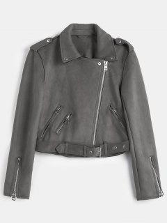 Belted Zipped Faux Suede Biker Jacket - Slate Gray M