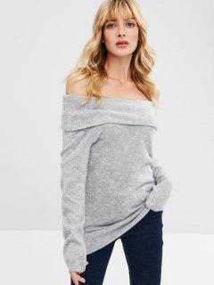 Foldover Off Shoulder Longline Sweater - Gray M