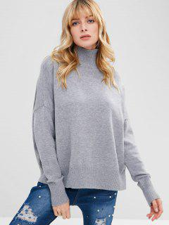 Funnel Collar Drop Shoulder Oversized Sweater - Gris