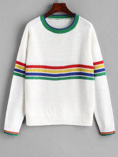 Color Block Sweater With Stripes - White S