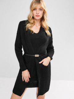 Tunic Pocket Cardigan And Tank Dress Set - Black
