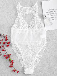 Sheer Lingerie Teddy Bodysuit - White S