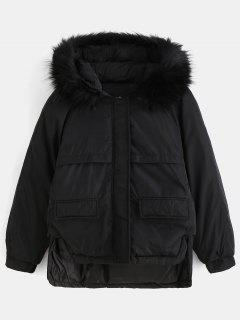 Faux Fur Hood Quilted Short Winter Coat - Black L