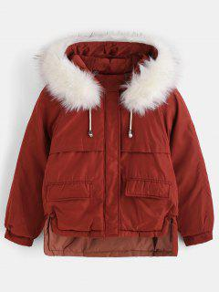 Faux Fur Hood Quilted Short Winter Coat - Bean Red M