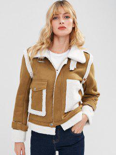 Zip Up Sheepskin Jacket - Dark Goldenrod S