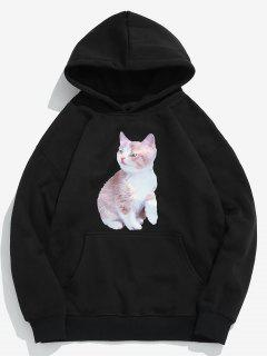 Creative Cat Printed Fleece Pullover Hoodie - Black M